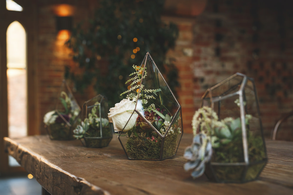 Terrarium Flowers Red White Greenery Foliage Table Christmas Wedding Gareth Newstead Photography