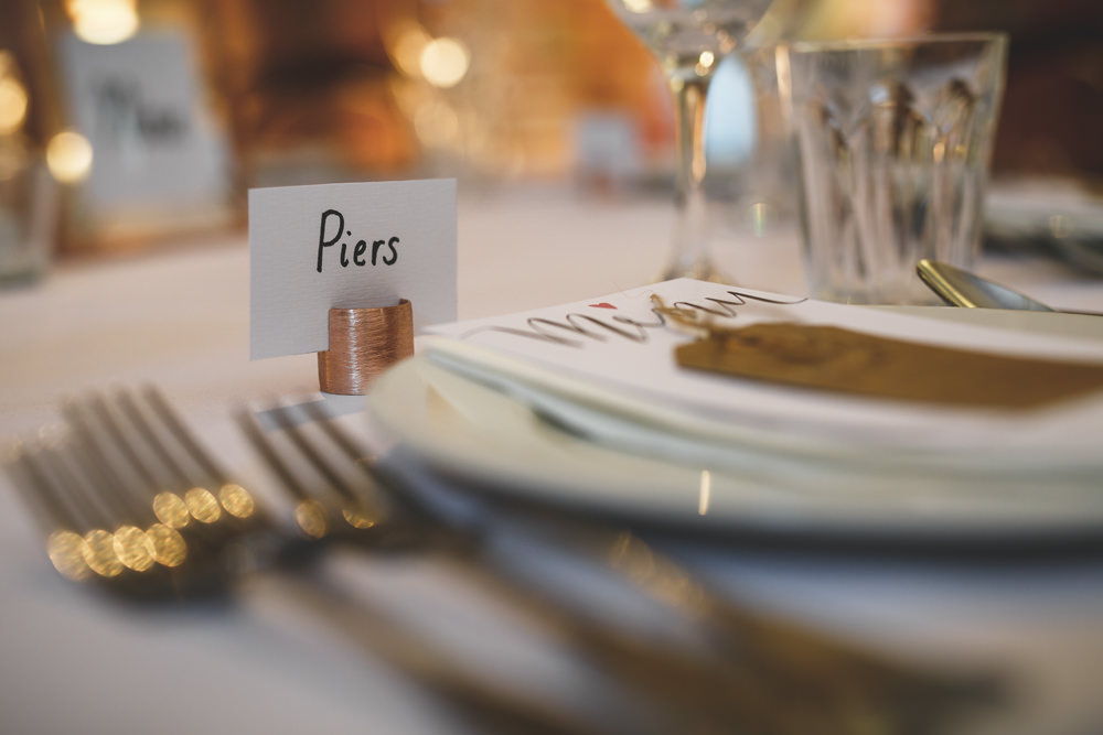 Place Name Setting Copper Christmas Wedding Gareth Newstead Photography