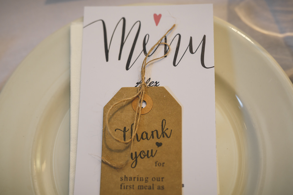 Luggage Tag Calligraphy Place Setting Christmas Wedding Gareth Newstead Photography