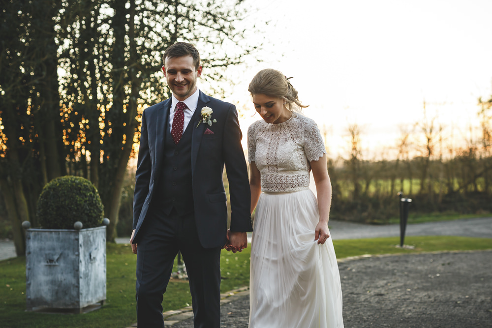 Dress Gown Bride Bridal Catherine Deane Skirt Top Separates Christmas Wedding Gareth Newstead Photography