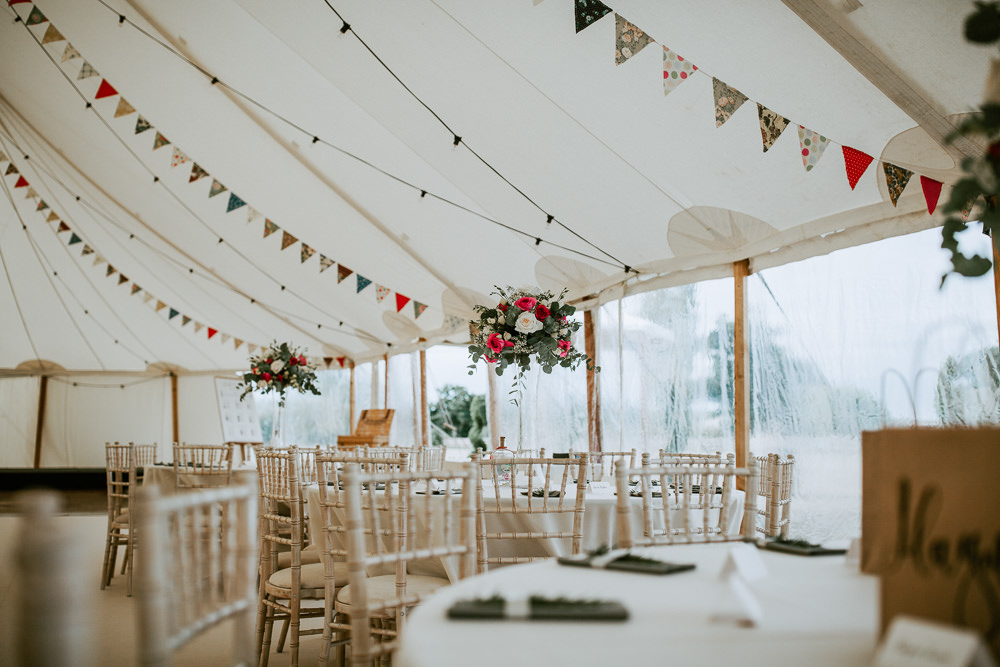 Pole Tent Decor Bunting Flowers City Cathedral Country Marquee Wedding Siobhan Beales Photography