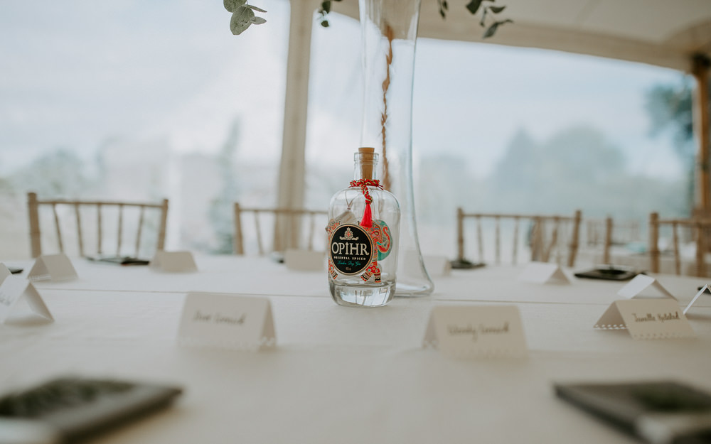 Mini Bottle Favours City Cathedral Country Marquee Wedding Siobhan Beales Photography