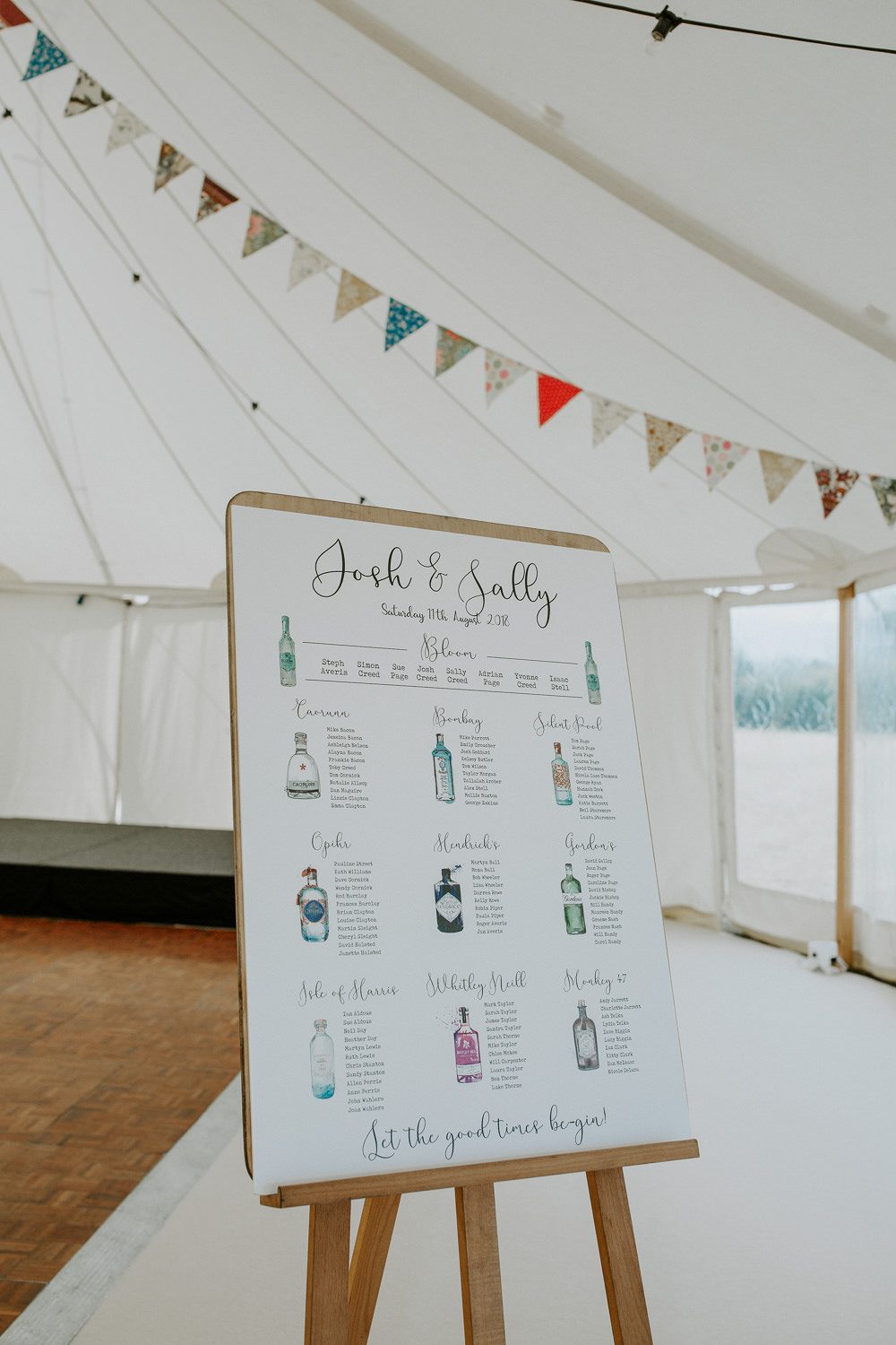 Seating Plan Table Chart Gin Illustrated Calligraphy City Cathedral Country Marquee Wedding Siobhan Beales Photography
