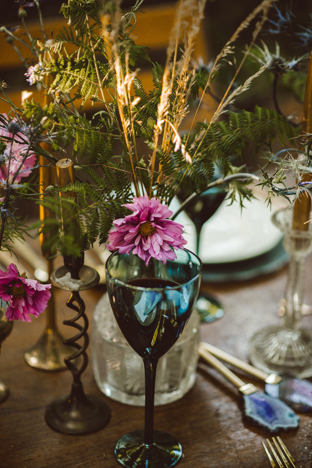 Table Flowers Pink Greenery Foliage Ethereal Magical Golden Hour Wedding Ideas Dhw Photography