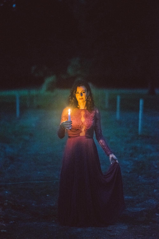 Candle Light Lantern Deep Purple Bridesmaid Dress Long Maxi Ethereal Magical Golden Hour Wedding Ideas Dhw Photography