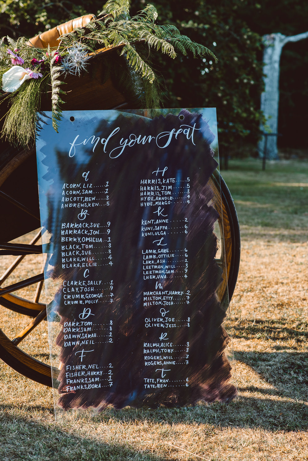 Perpex Acrylic Seating Plan Table Chart Deep Purple Calligraphy Ethereal Magical Golden Hour Wedding Ideas Dhw Photography