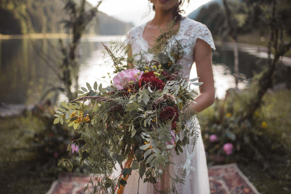 Bouquet Flowers Bride Bridal Large Wild Ribbons Greenery Foliage Peony Peonies Pink Red French Alps Folk Boho Mountain Wedding Ideas Katja & Simon Photography