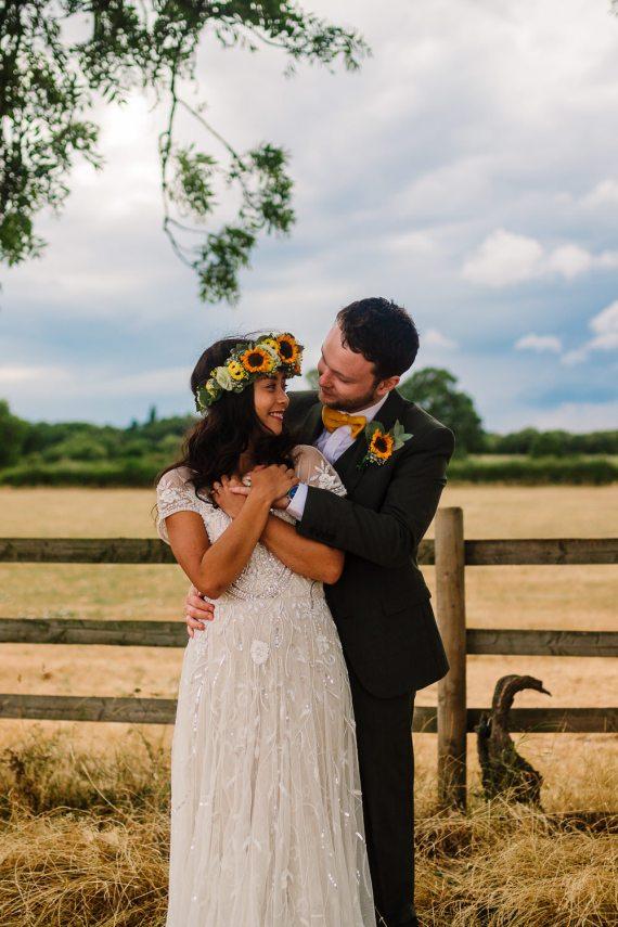 Dress Gown Bride Bridal Cap Sleeves Phase Eight Sequin Emellished Fun Colourful Festival Camp Wedding Rachel Burt Photography