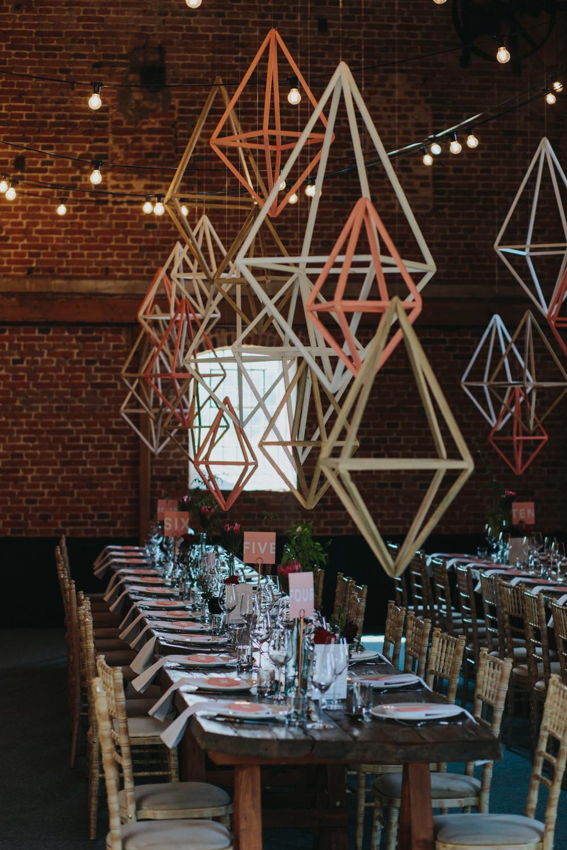 Himmeli Geometric Shapes Hanging Decor Installation Decoration Godwick Great Barn Wedding Joshua Patrick Photography