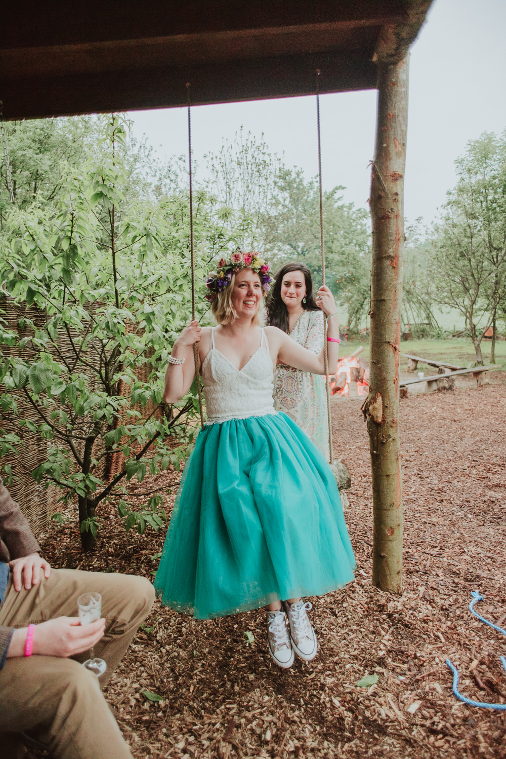 Bride Bridal Dress Gown Skirt Top Green Tutu Plush Tents Glamping Wedding Big Bouquet Photography