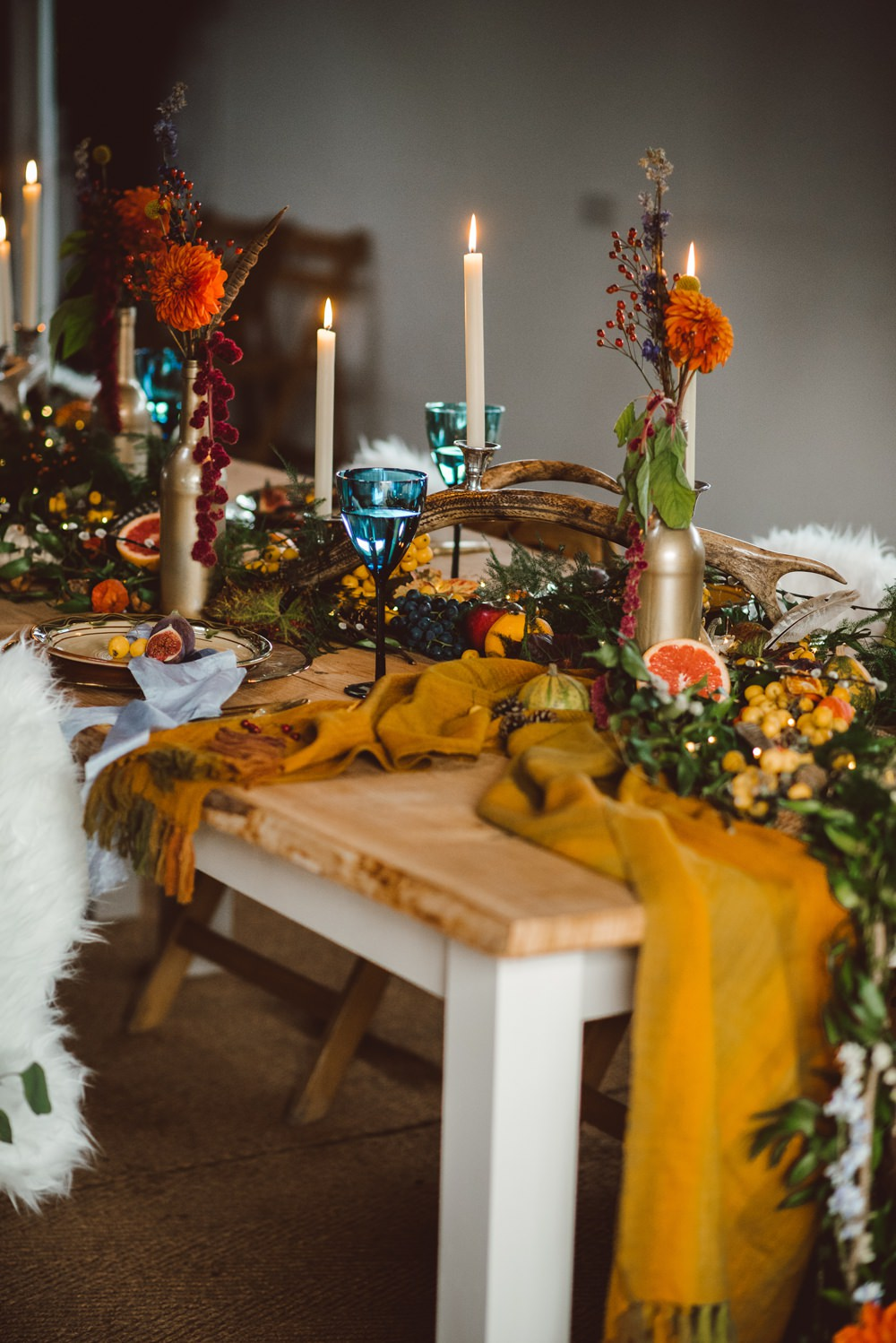 Tablescape Deor Flowers Bottles Fruit Candles Antlers Table Orange Runner Rustic Christmas Wedding Ideas Dhw Photography