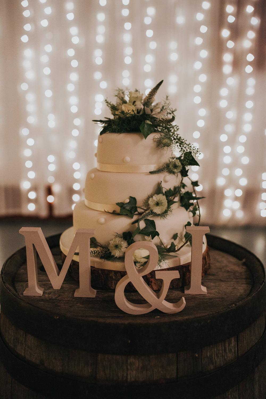 Cake White Icing Ivy Flowers Strawberry Barn Wedding Jen Owens Images