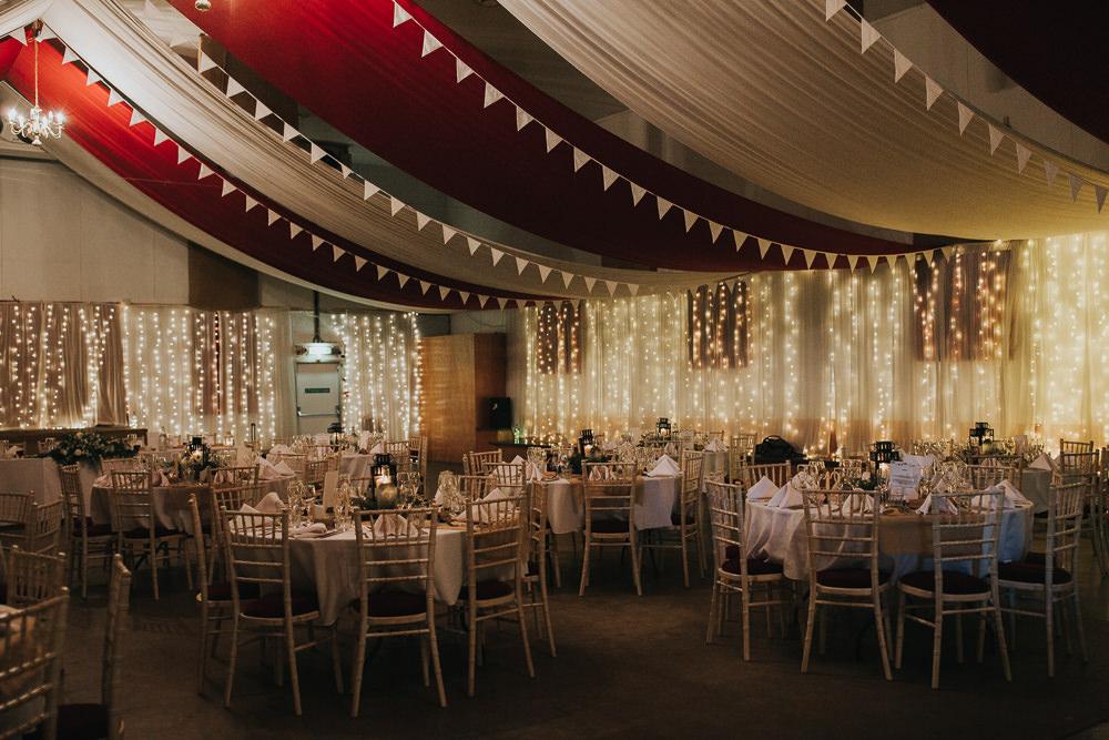 Pea Light Curtain Draping Reception Strawberry Barn Wedding Jen Owens Images