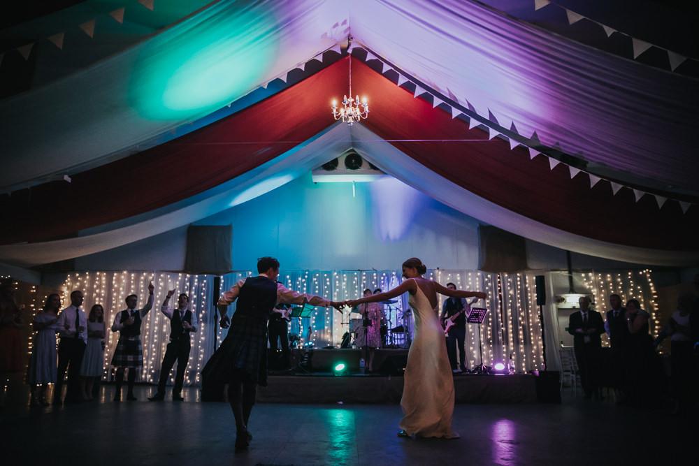 Bride Bridal Fitted Dress Silk Kilt Groom Strawberry Barn Wedding Jen Owens Images