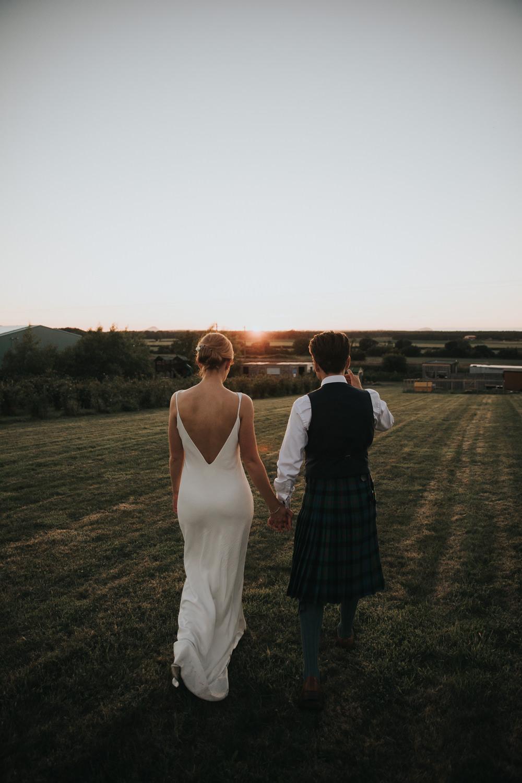 Bride Bridal Fitted Dress Silk Low Back Strappy Kilt Groom Strawberry Barn Wedding Jen Owens Images
