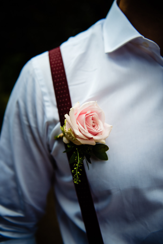 Groom Groomsmen Buttonhole Braces Pink Rose West Lexham Wedding James Powell Photography