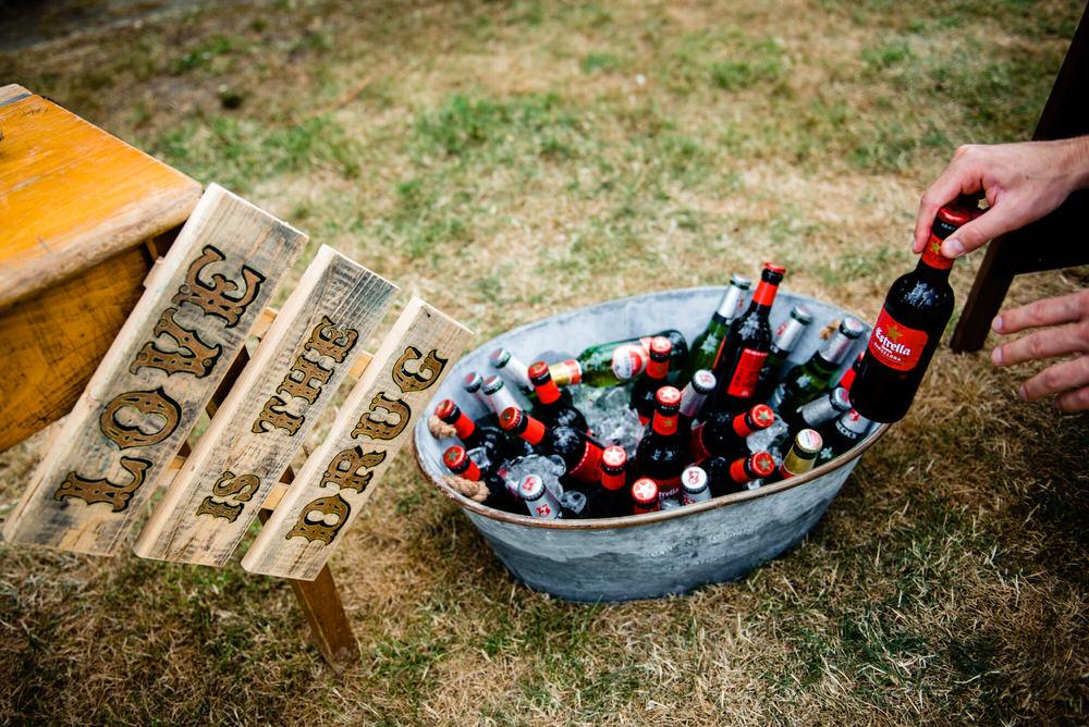 Booze Drinks Bath Tin Sign Bar West Lexham Wedding James Powell Photography
