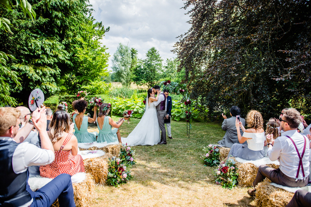 Outdoor Ceremony Flower Aisle Arch Backdrop West Lexham Wedding James Powell Photography