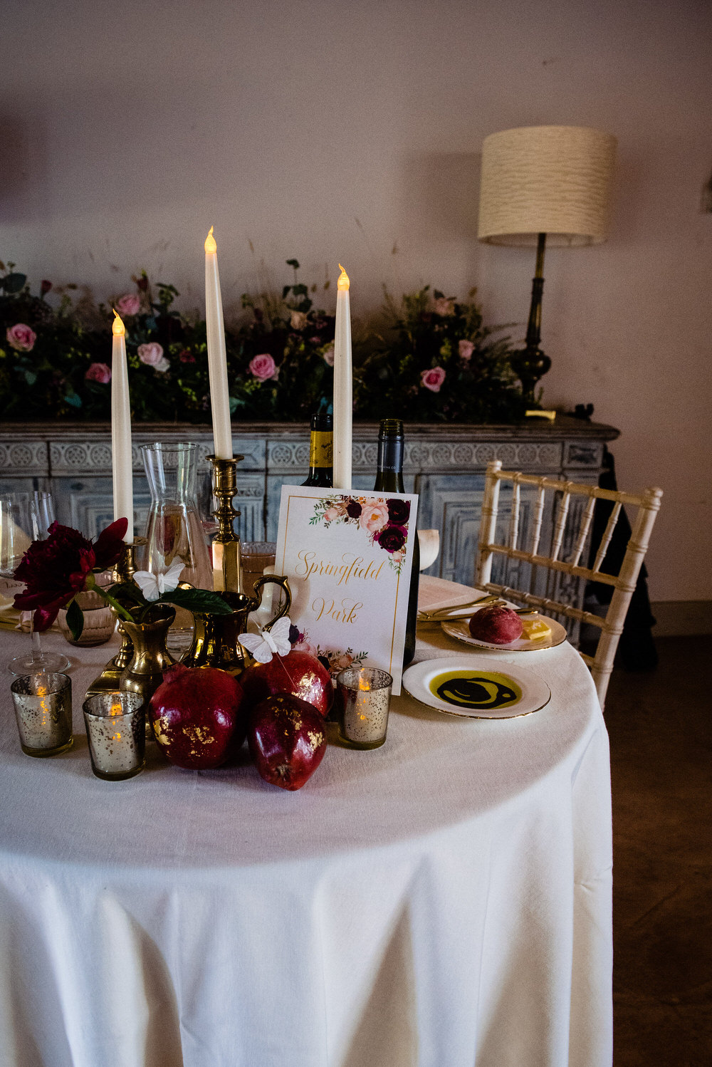 Sweetheart Table Decor Flowers Candles Fruit Gold West Lexham Wedding James Powell Photography