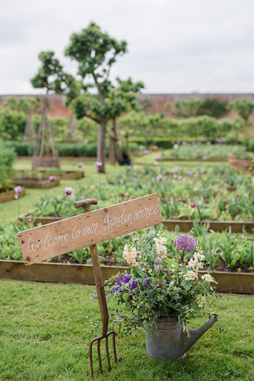 Garden Wedding Allotment Calligraphy Sign Babington House Wedding Ria Mishaal Photography