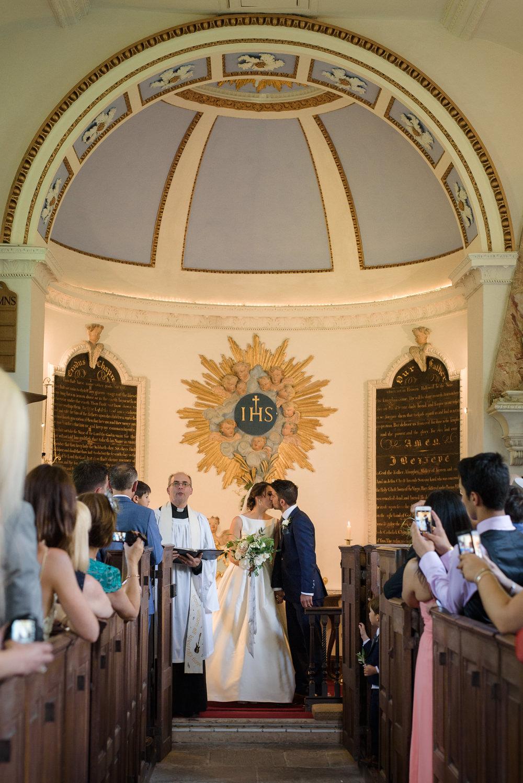 Bride Bridal A Line Dress Straps Sleeveless Silk Boat Neck Neck Blue Suit Groom Veil Babington House Wedding Ria Mishaal Photography