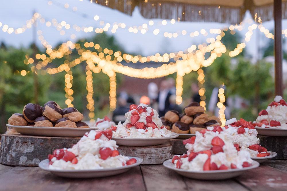 Pavlova Dessert Outdoors Babington House Wedding Ria Mishaal Photography
