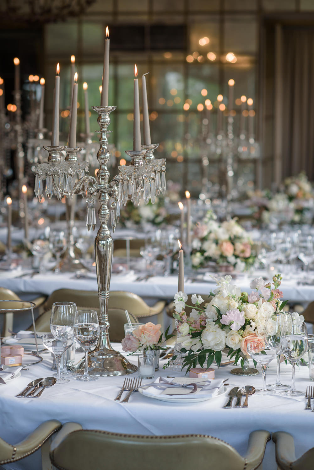 Pink Peach Blush Flowers Floral Tablescape Candleabra Babington House Wedding Ria Mishaal Photography