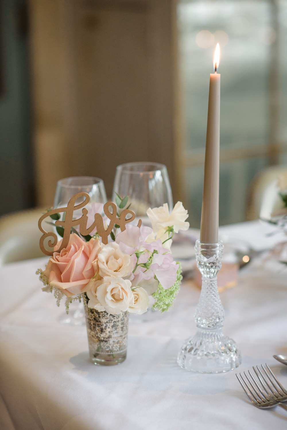 Table Number Laser Cut Wooden Calligraphy Votive Glass Candlestick Babington House Wedding Ria Mishaal Photography