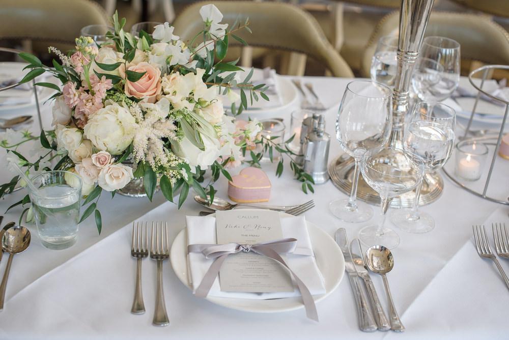 Table Setting Blush Peach Cream Rose Flowers Floral Ribbon Menu Babington House Wedding Ria Mishaal Photography