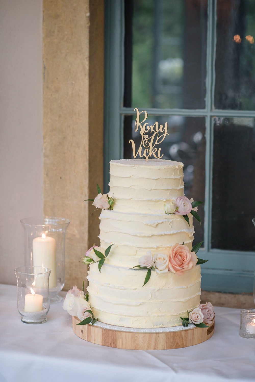 Buttercream Cake Flowers Floral Rose Laser Cut Topper Candle Vase Babington House Wedding Ria Mishaal Photography