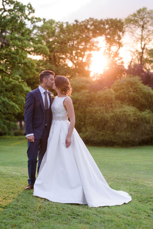 Bride Bridal A Line Dress Straps Sleeveless Silk Boat Neck Blue Suit Groom Babington House Wedding Ria Mishaal Photography