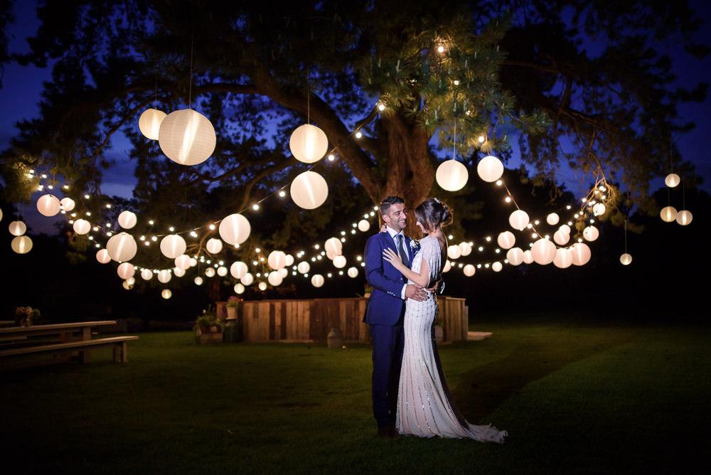 Bride Bridal A Line Dress Straps Sleeveless Silk Embellished White Lantern Trees Babington House Wedding Ria Mishaal Photography