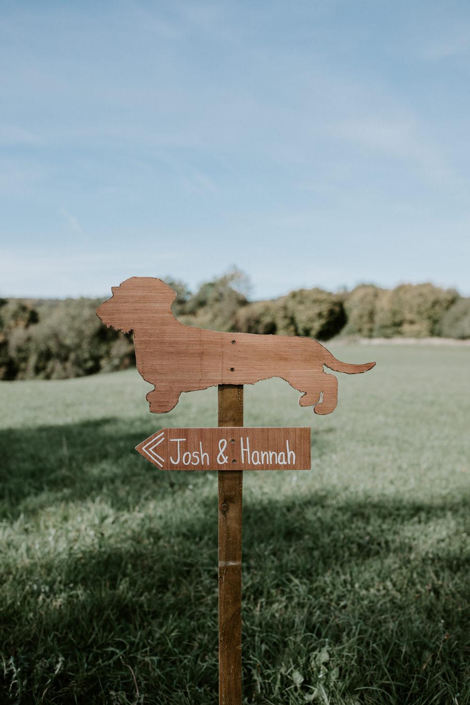 Wooden Sign Signage Post Dog Barn Upcote Wedding Siobhan Beales Photography