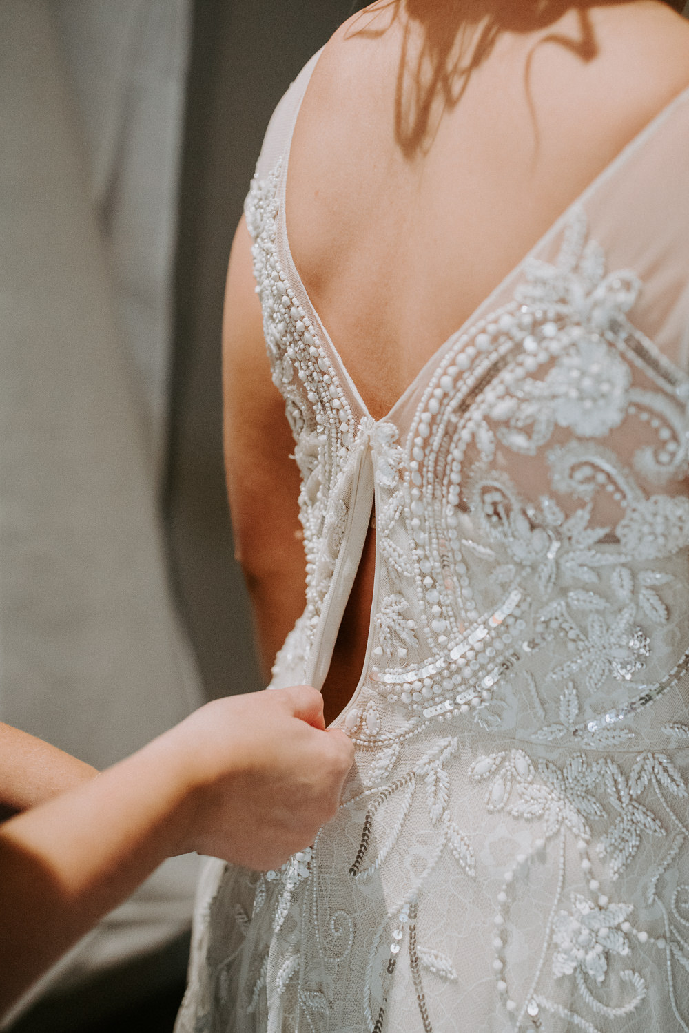 Dress Gown Bride Bridal Back Beaded Phase Eight Barn Upcote Wedding Siobhan Beales Photography