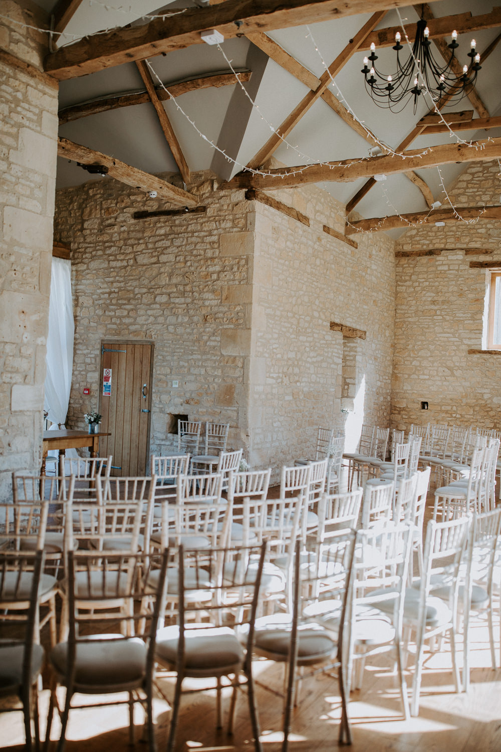 Ceremony Chairs Set Up Barn Upcote Wedding Siobhan Beales Photography