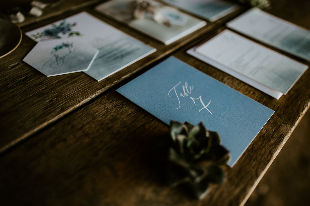 Stationery Suite Invites Invitations Ribbon Floral Calligraphy Blue Rich Romantic Wedding Ideas Daze of Glory Photography Catherine Spiller Photography