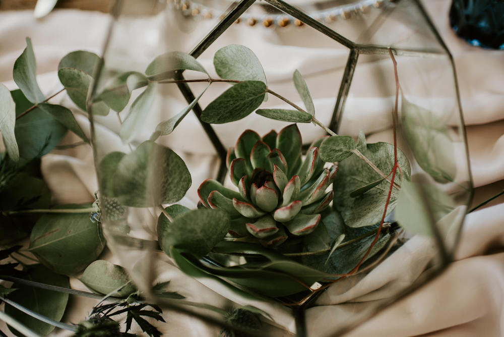 Terrarium Centrepiece Decor Table Succulents Blue Rich Romantic Wedding Ideas Daze of Glory Photography Catherine Spiller Photography