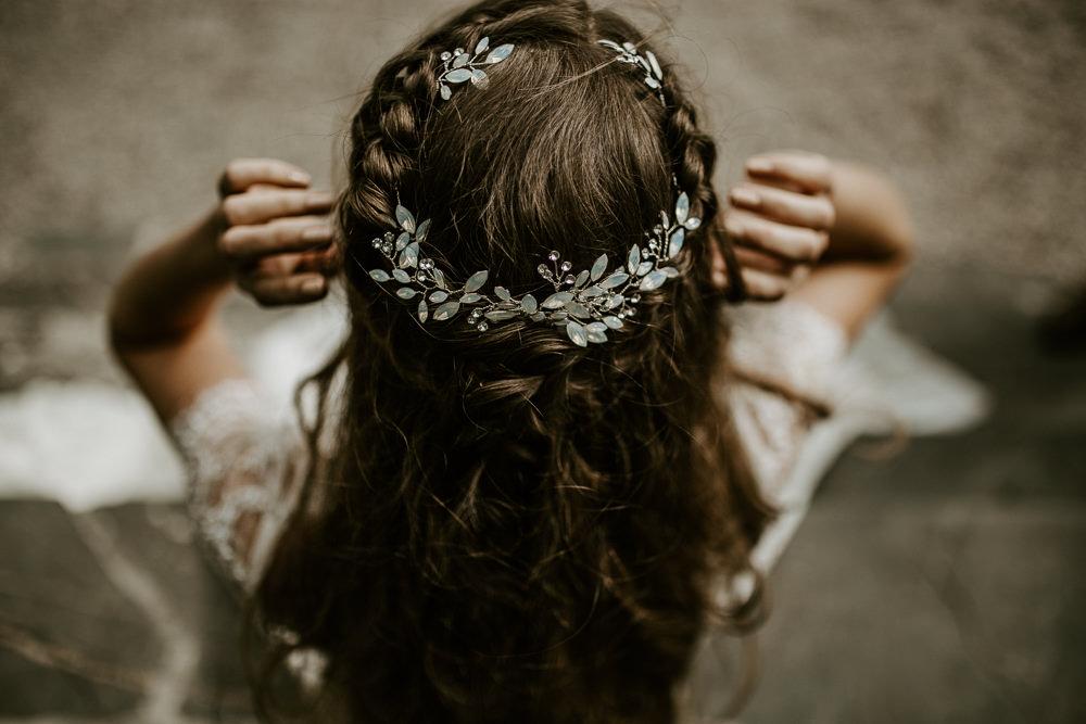 Hair Bride Bridal Style Up Do Plait Braid Halo Accessory Blue Rich Romantic Wedding Ideas Daze of Glory Photography Catherine Spiller Photography