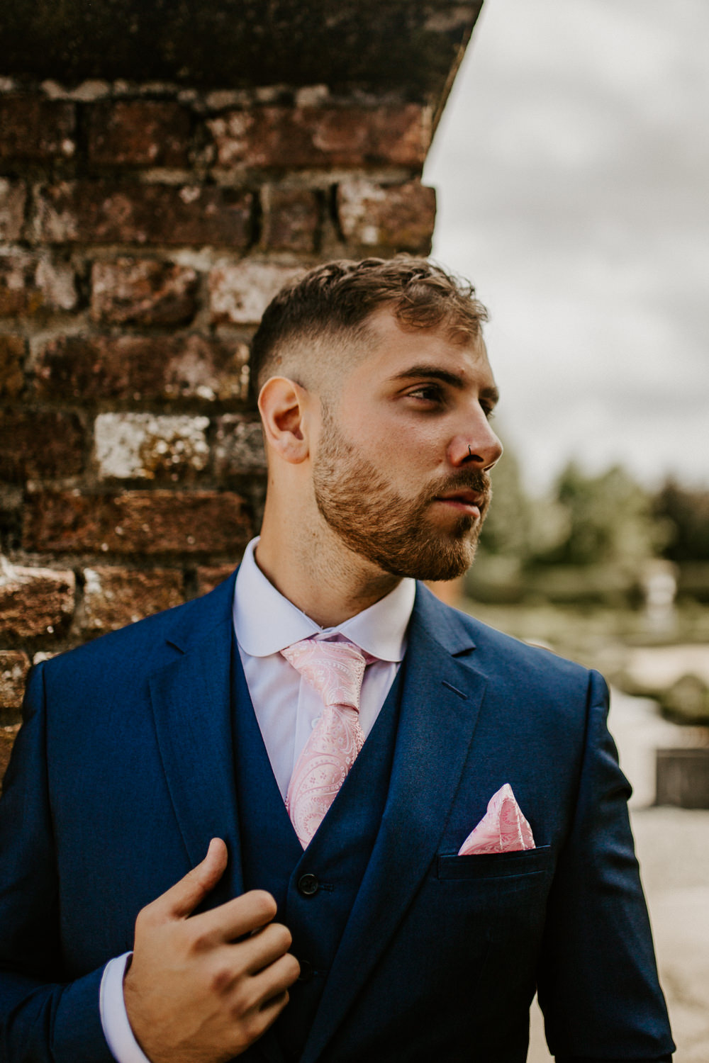 Groom Suit Pink Paisley Tie Pocket Square Blue Rich Romantic Wedding Ideas Daze of Glory Photography Catherine Spiller Photography