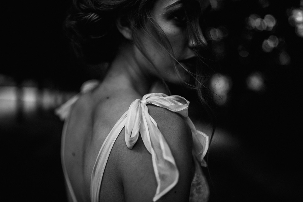 Dress Bride Bridal Gown Straps Bow Blue Rich Romantic Wedding Ideas Daze of Glory Photography Catherine Spiller Photography