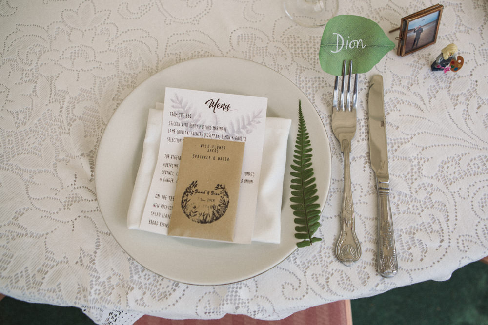Table Setting Place Card Wildflower Seeds Fern Middle Coombe Farm Wedding Emma Stoner Photo