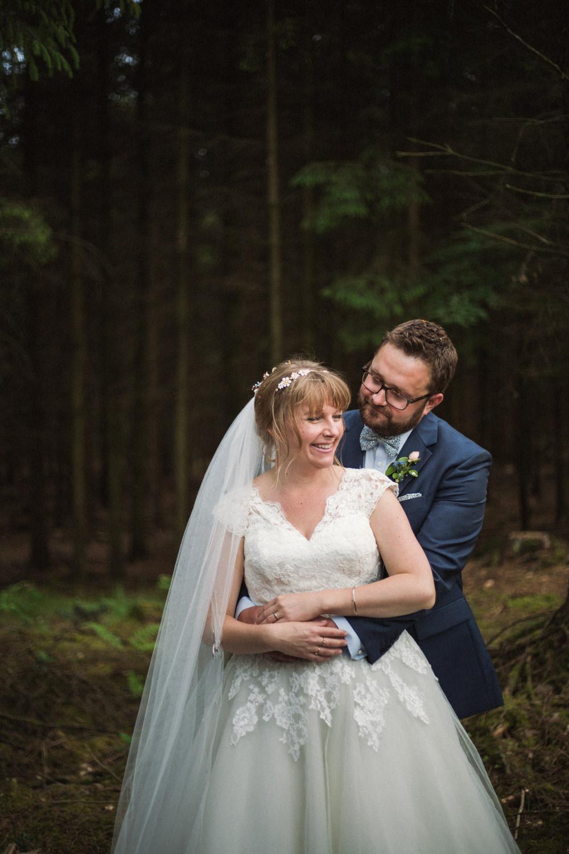 Bride Bridal Ballerina Length Dress Lace Sleeves Navy Suit Groom Veil Middle Coombe Farm Wedding Emma Stoner Photo