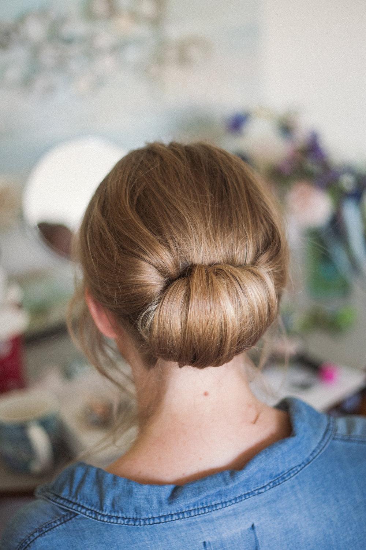 Bride Bridal Hair Up Do Chignon Middle Coombe Farm Wedding Emma Stoner Photo