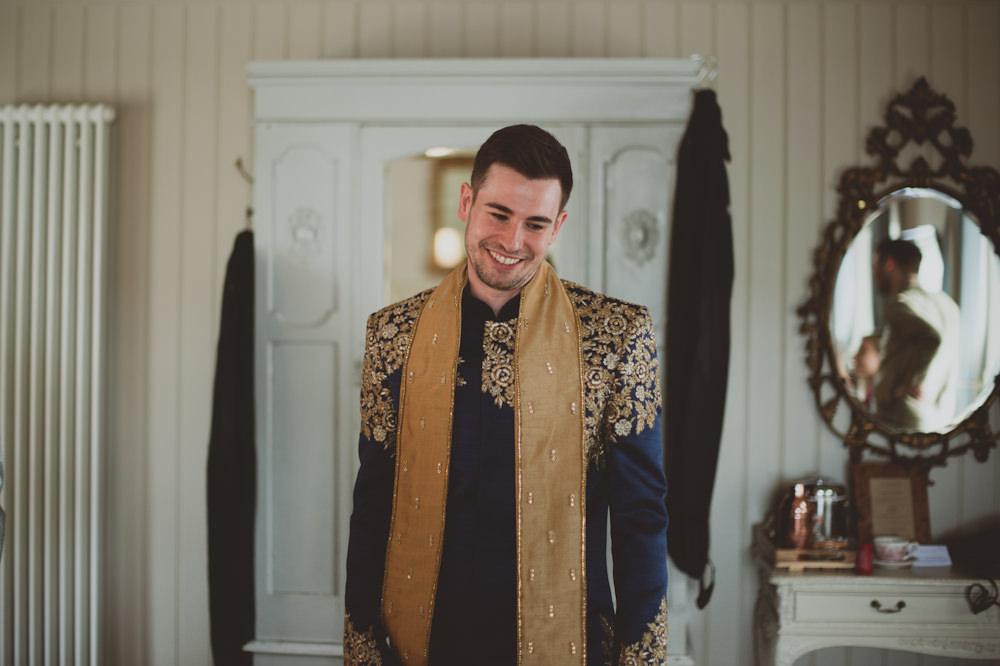 Navy Kurta Groom Newton Hall Wedding Sasha Weddings