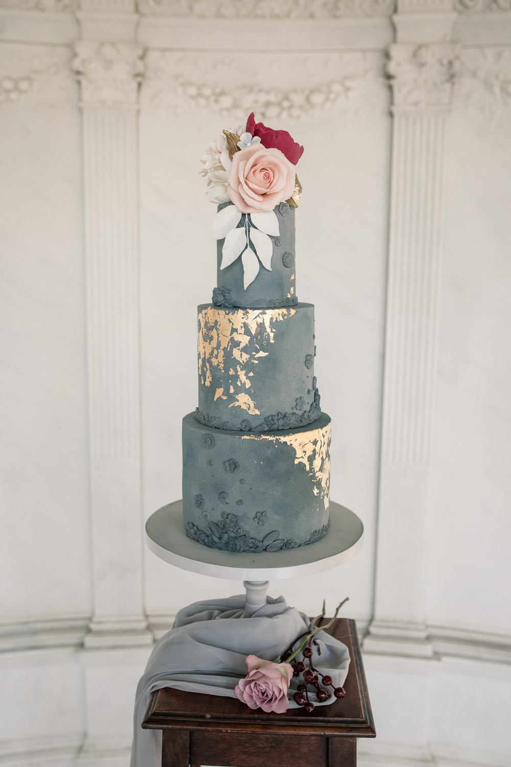 Blue Cake Tall Floral Gold Grey Stone Silk Table Winter Luxe Wedding Ideas Becky Harley Photography