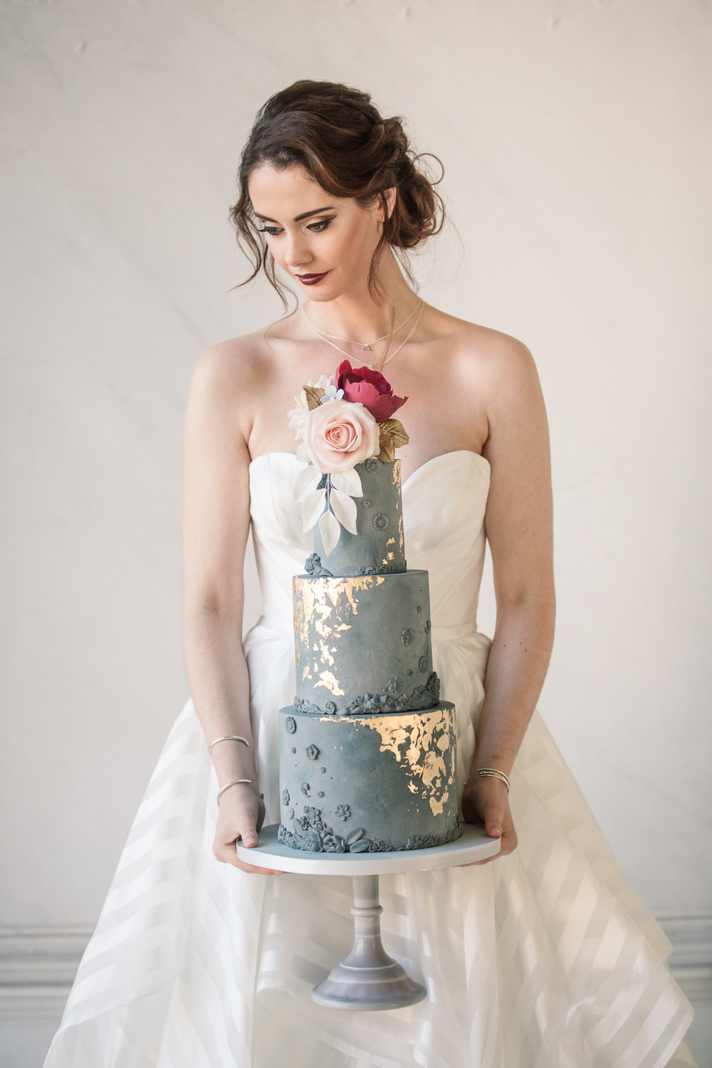 Blue Cake Tall Floral Gold Grey Stone Winter Luxe Wedding Ideas Becky Harley Photography