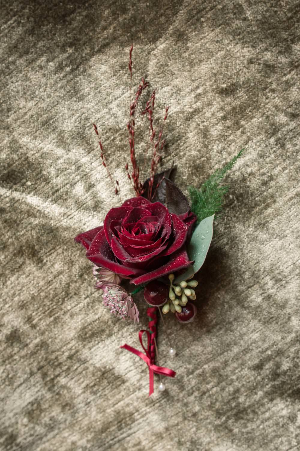 Red Velvet Rose Buttonhole Groom Winter Luxe Wedding Ideas Becky Harley Photography