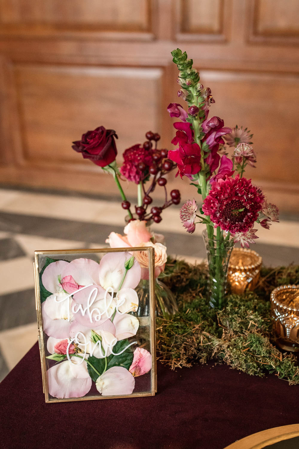 Petals Floral Flower Frame Table Number Winter Luxe Wedding Ideas Becky Harley Photography