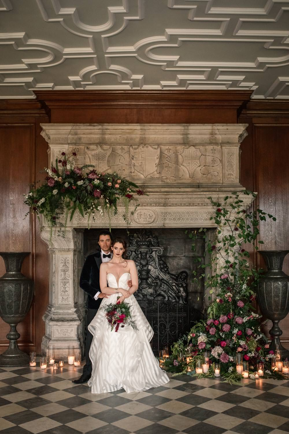 Fireplace Mantlepiece Flowers Installation Candles Greenery Backdrop Winter Luxe Wedding Ideas Becky Harley Photography
