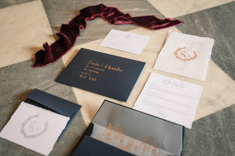 Stationery Invites Invitations Velvet Ribbon Calligraphy Glassine Gold Winter Luxe Wedding Ideas Becky Harley Photography